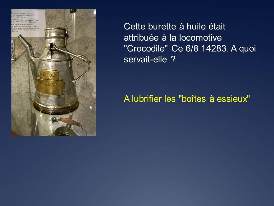 Cette burette à huile était attribuée à la locomotive Crocodile Ce 6/8 14283. A quoi servait-elle