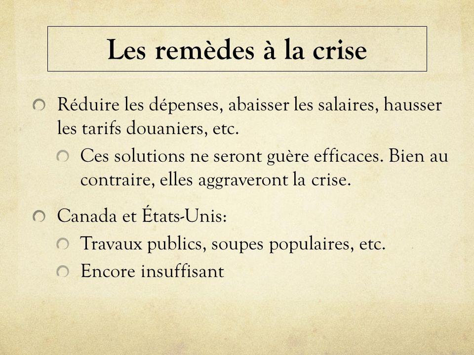 Les remèdes à la crise Réduire les dépenses, abaisser les salaires, hausser les tarifs douaniers, etc.