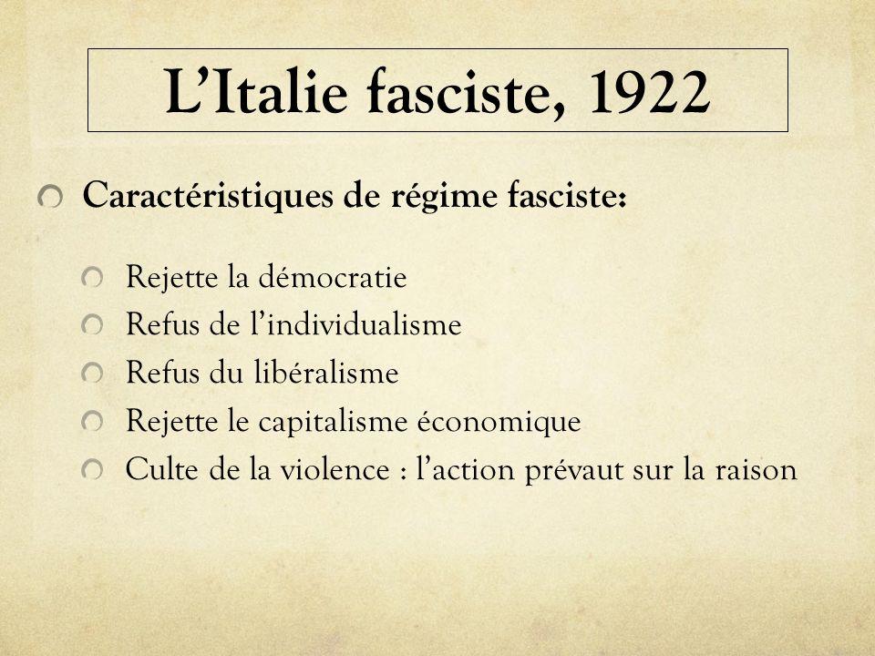 L'Italie fasciste, 1922 Caractéristiques de régime fasciste: