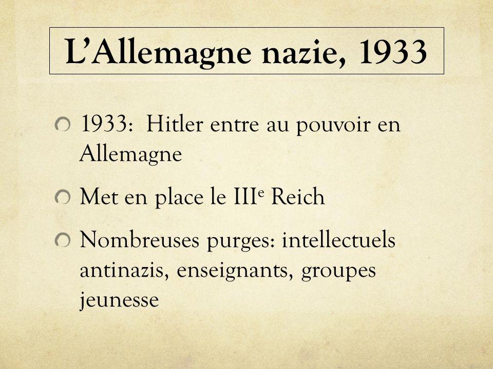 L'Allemagne nazie, 1933 1933: Hitler entre au pouvoir en Allemagne