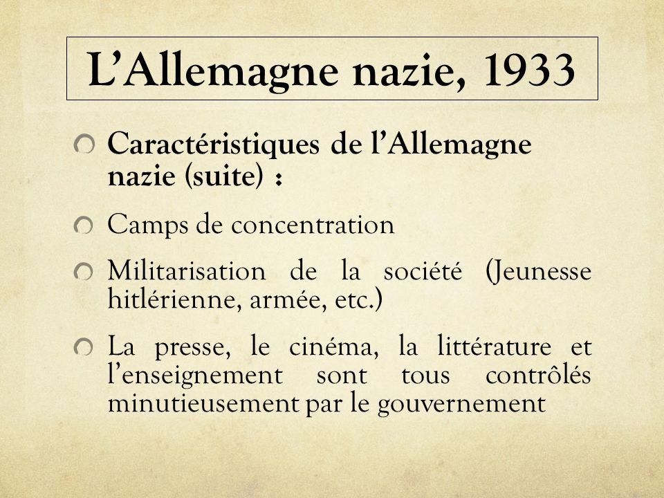 L'Allemagne nazie, 1933 Caractéristiques de l'Allemagne nazie (suite) : Camps de concentration.