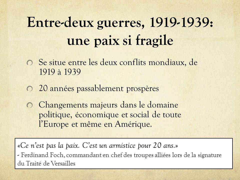 Entre-deux guerres, 1919-1939: une paix si fragile