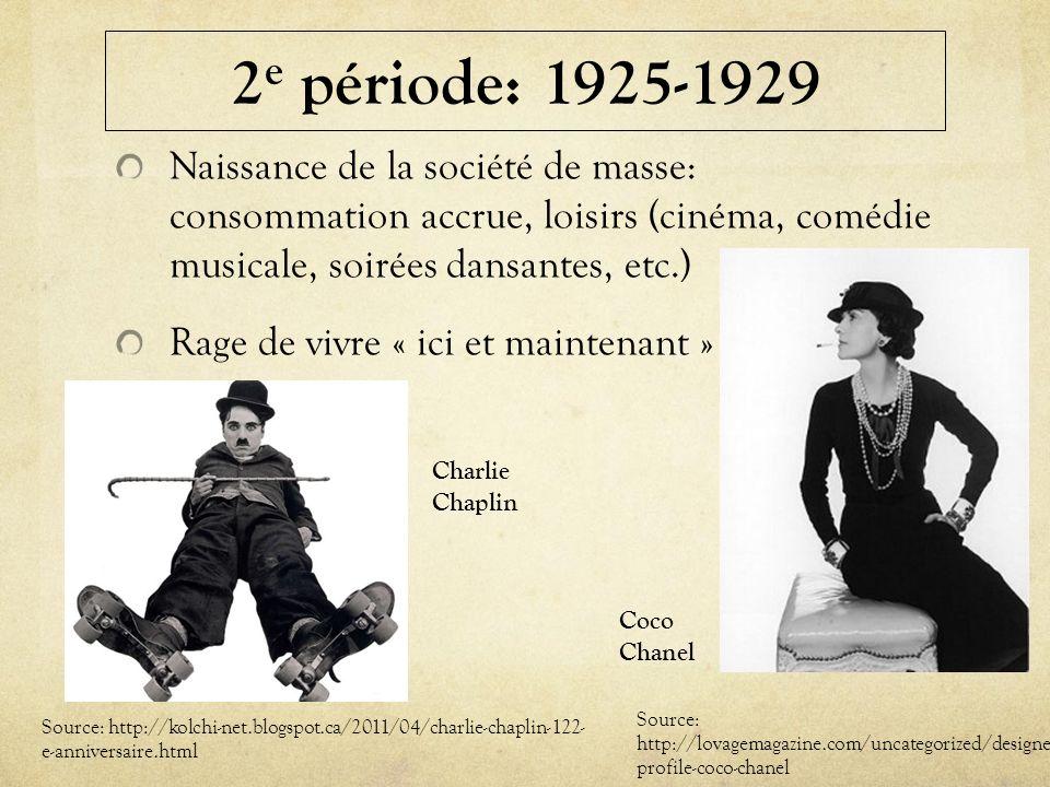 2e période: 1925-1929 Naissance de la société de masse: consommation accrue, loisirs (cinéma, comédie musicale, soirées dansantes, etc.)