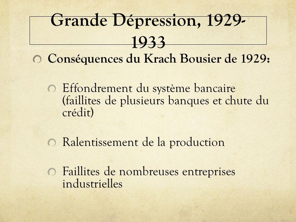 Grande Dépression, 1929-1933 Conséquences du Krach Bousier de 1929: