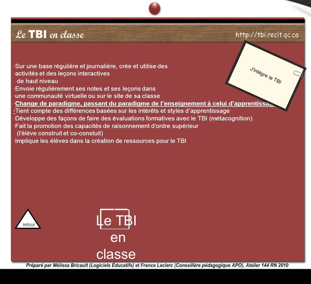 J intègre le TBI ·Sur une base régulière et journalière, crée et utilise des. ·activités et des leçons interactives.