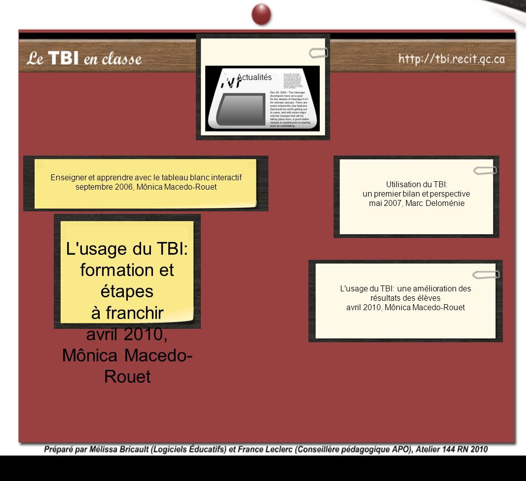 L usage du TBI: formation et étapes à franchir avril 2010,