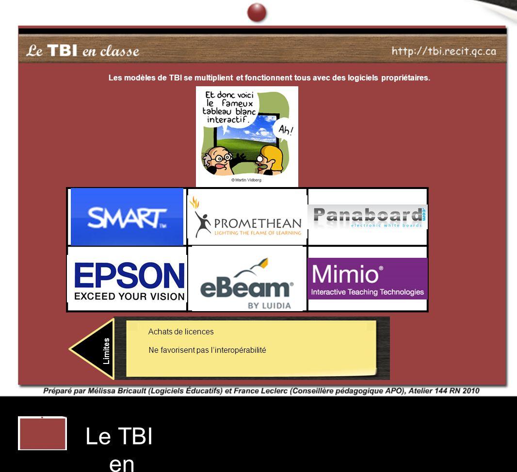 Les modèles de TBI se multiplient et fonctionnent tous avec des logiciels propriétaires.
