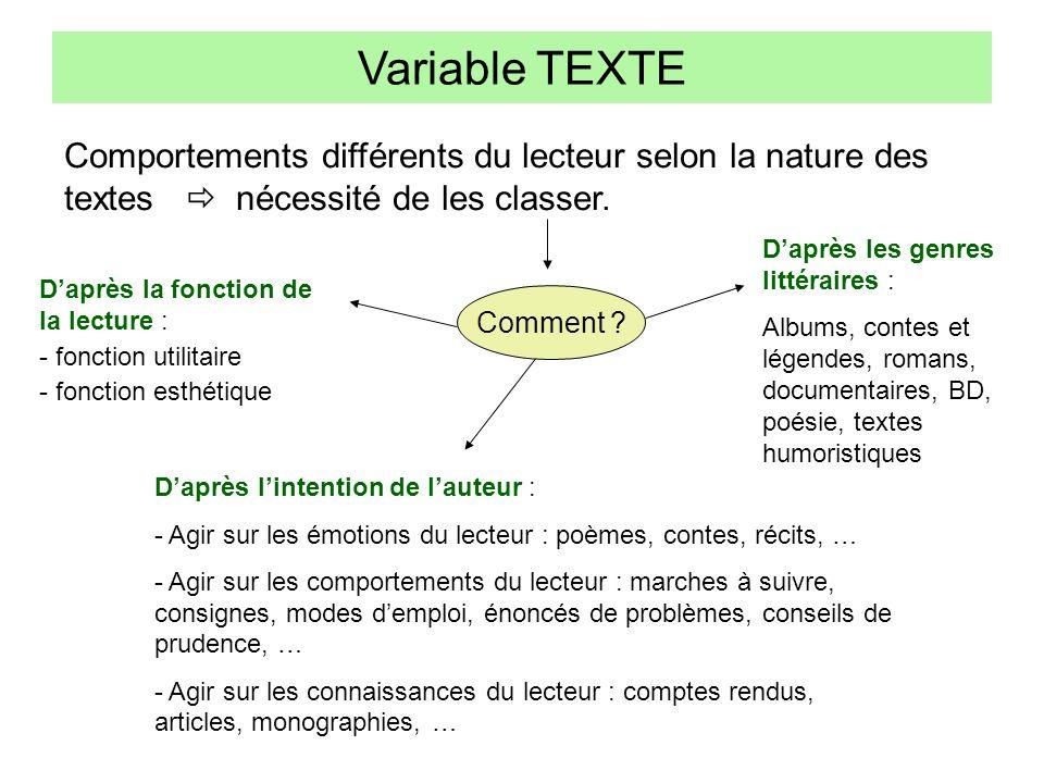 Variable TEXTE Comportements différents du lecteur selon la nature des textes  nécessité de les classer.