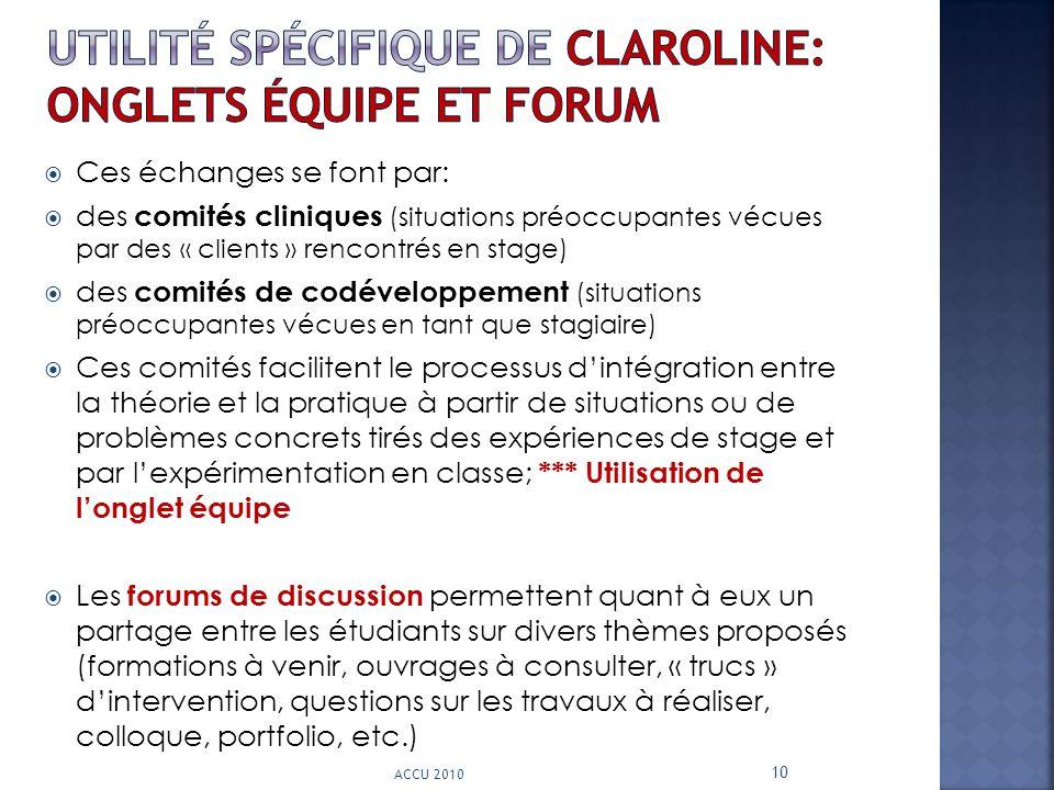 utilité spécifique de claroline: onglets équipe et forum