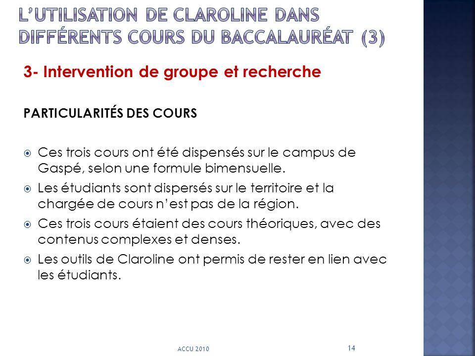 L'utilisation de CLAROLINE dans différents cours du Baccalauréat (3)