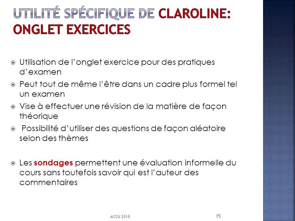 utilité spécifique de claroline: onglet exercices