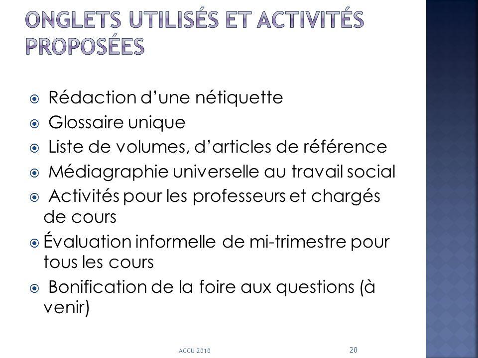 Onglets utilisés et activités proposées