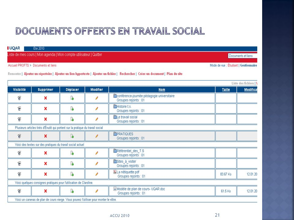 Documents offerts en travail social