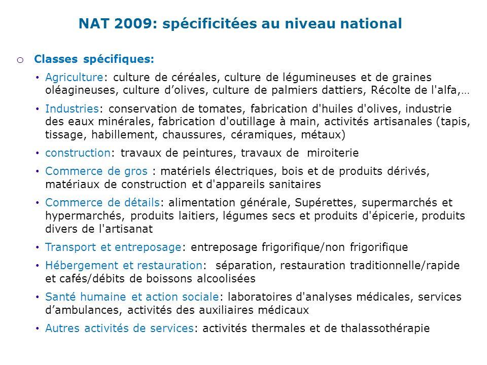 NAT 2009: spécificitées au niveau national