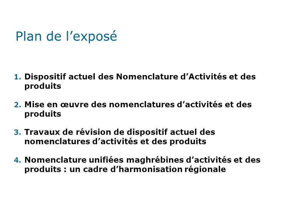 Plan de l'exposé Dispositif actuel des Nomenclature d'Activités et des produits. Mise en œuvre des nomenclatures d'activités et des produits.
