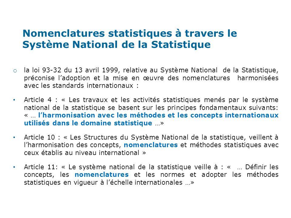 Nomenclatures statistiques à travers le Système National de la Statistique