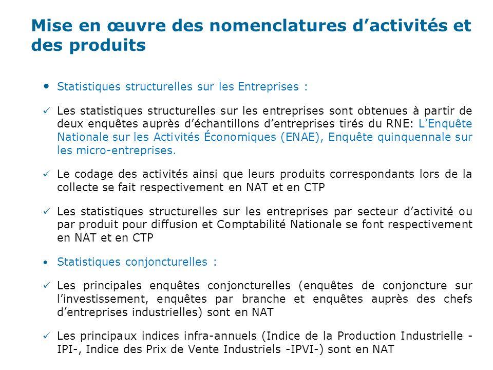 Mise en œuvre des nomenclatures d'activités et des produits