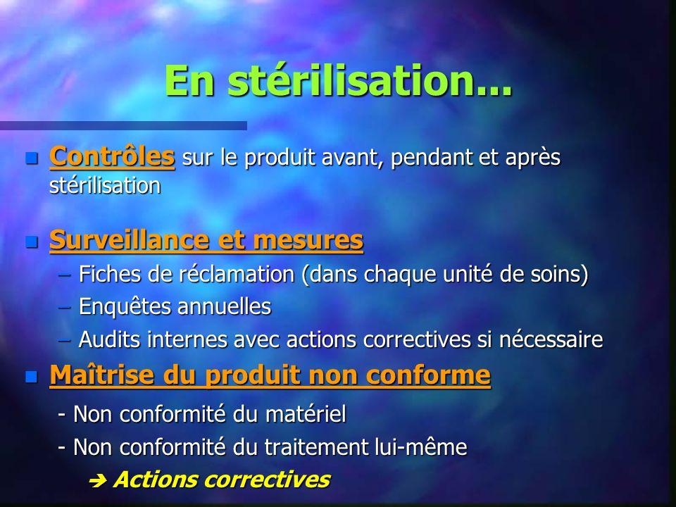 En stérilisation... Contrôles sur le produit avant, pendant et après stérilisation. Surveillance et mesures.