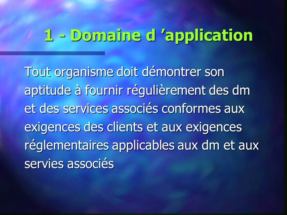 1 - Domaine d 'application