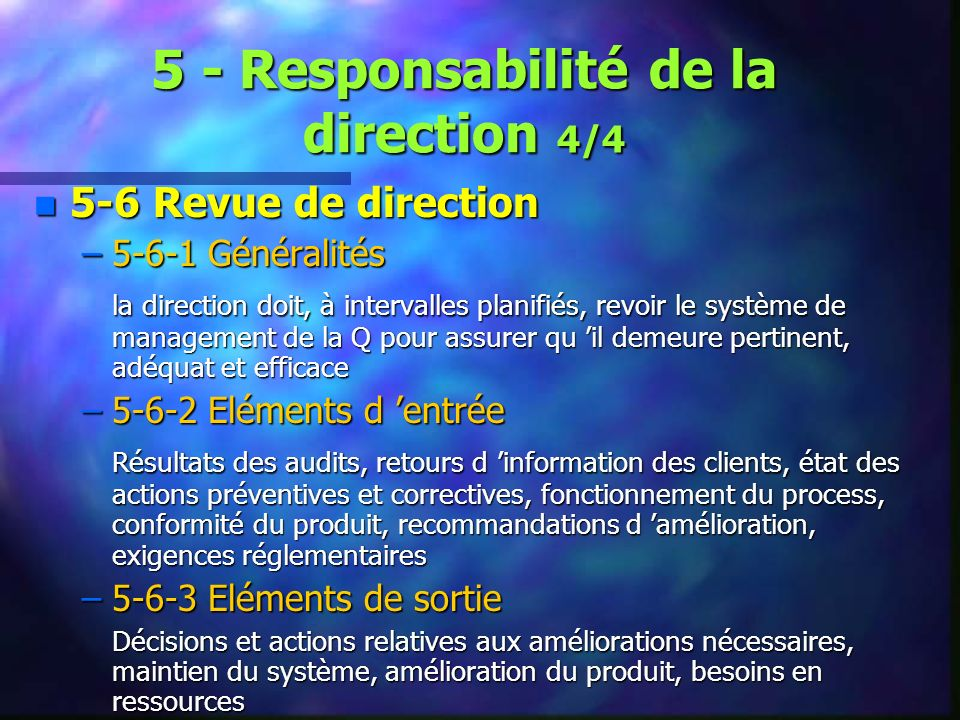 5 - Responsabilité de la direction 4/4
