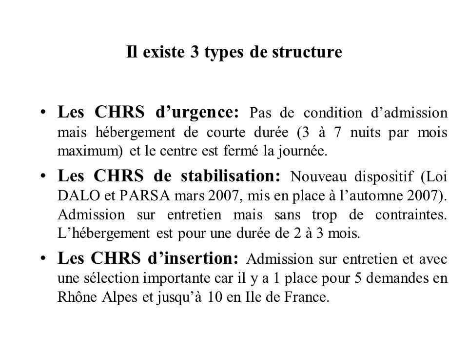 Il existe 3 types de structure