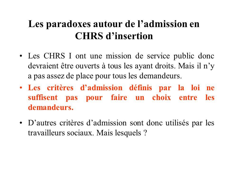 Les paradoxes autour de l'admission en CHRS d'insertion