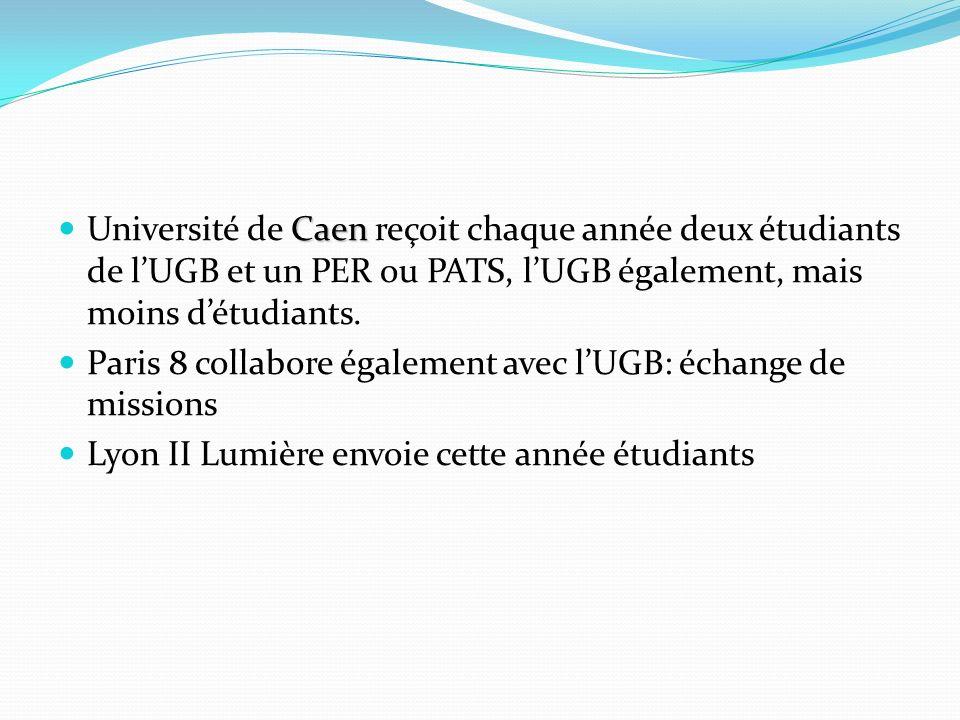 Université de Caen reçoit chaque année deux étudiants de l'UGB et un PER ou PATS, l'UGB également, mais moins d'étudiants.