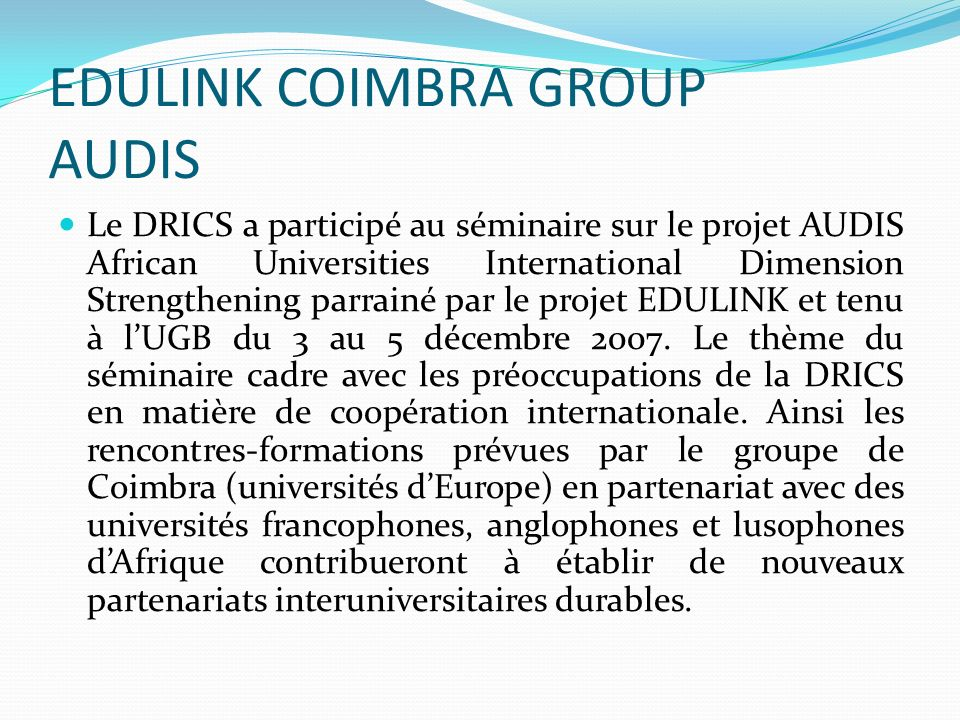 EDULINK COIMBRA GROUP AUDIS