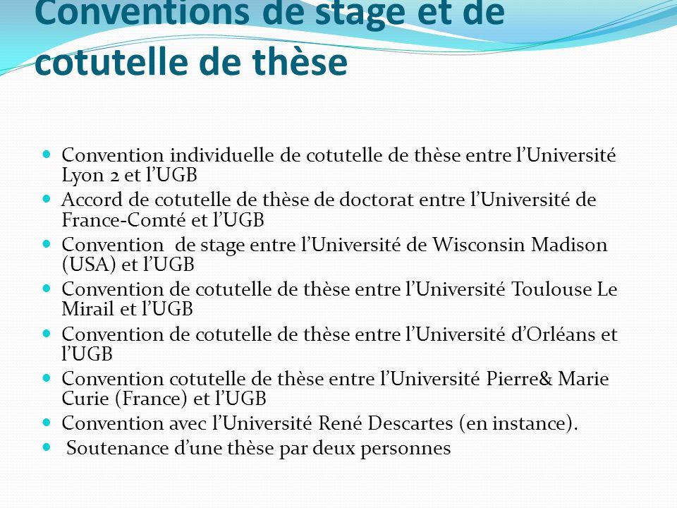 Conventions de stage et de cotutelle de thèse