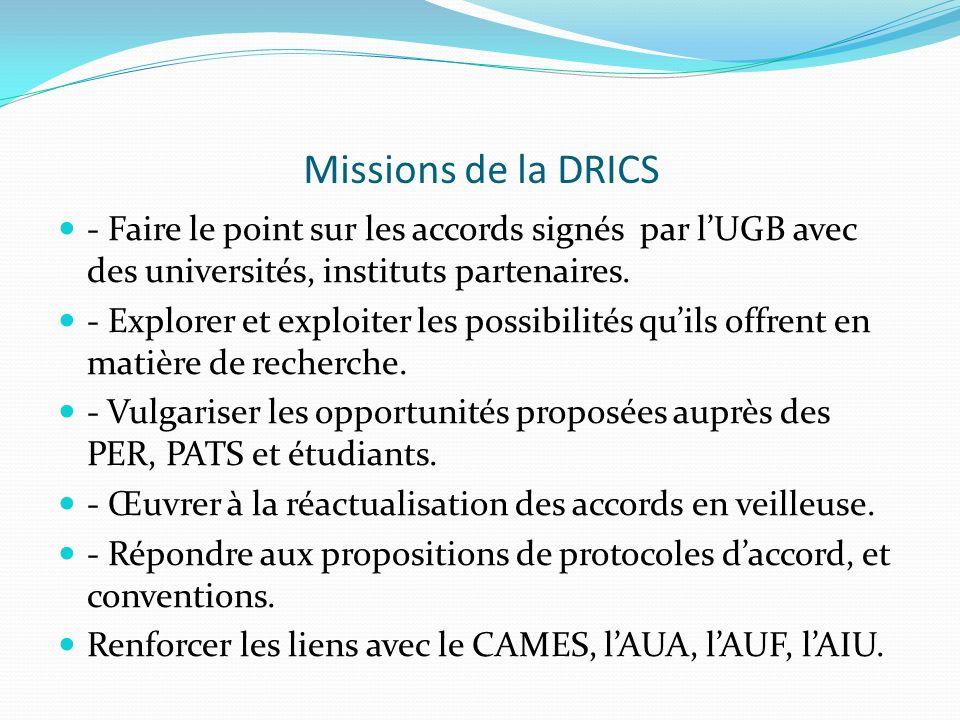 Missions de la DRICS - Faire le point sur les accords signés par l'UGB avec des universités, instituts partenaires.