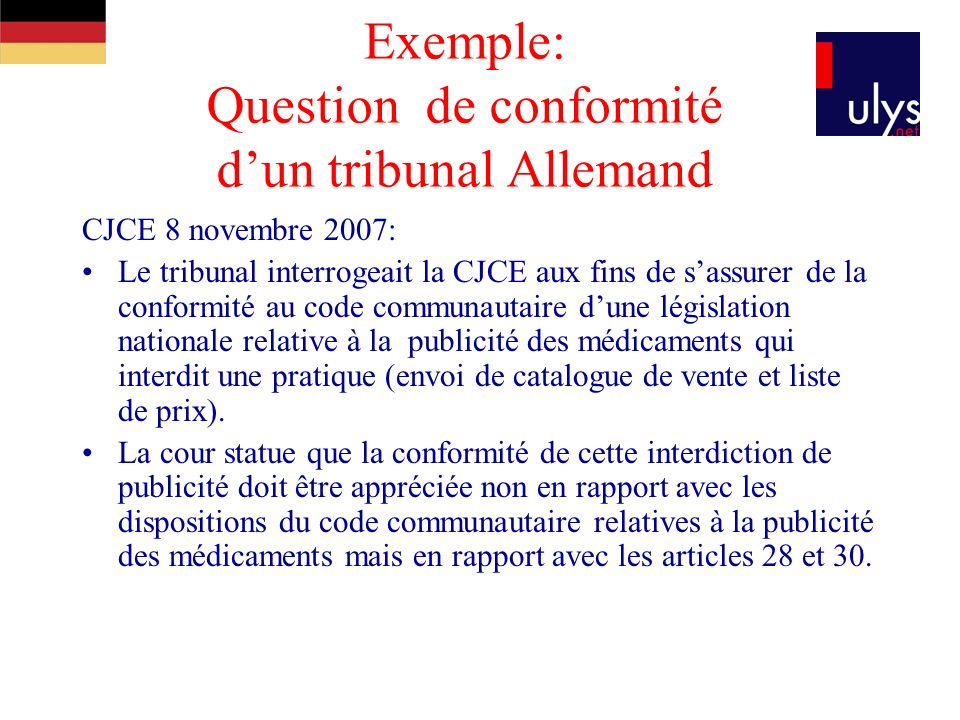 Exemple: Question de conformité d'un tribunal Allemand