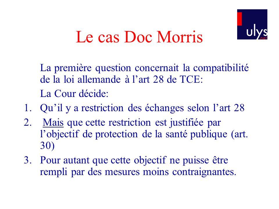 Le cas Doc Morris La première question concernait la compatibilité de la loi allemande à l'art 28 de TCE: