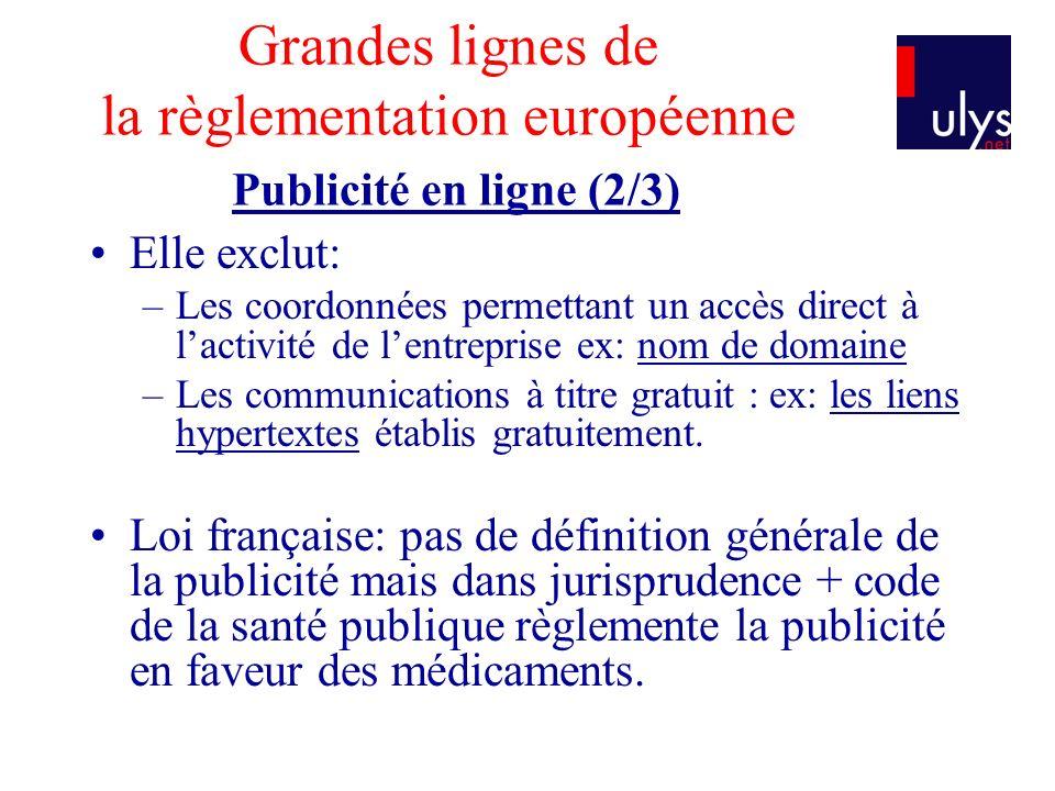 Grandes lignes de la règlementation européenne Publicité en ligne (2/3)