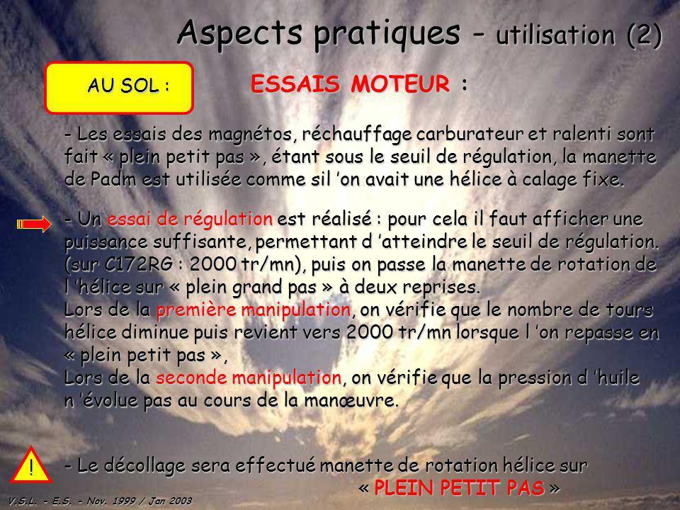 Aspects pratiques - utilisation (2)
