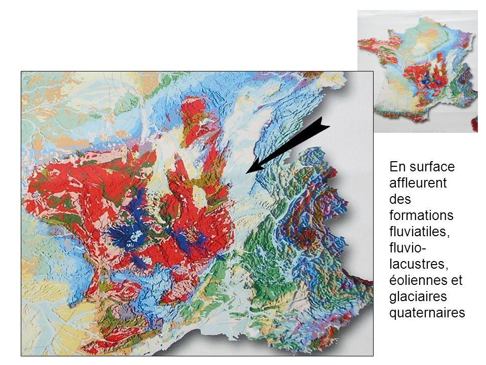 En surface affleurent des formations fluviatiles, fluvio-lacustres, éoliennes et glaciaires quaternaires