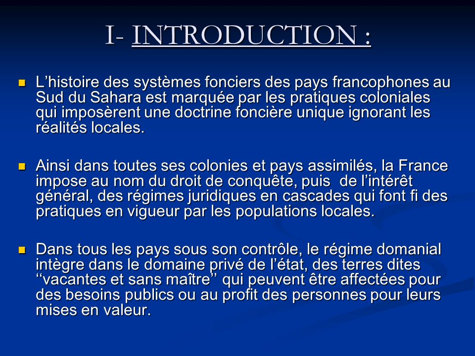 I- INTRODUCTION :