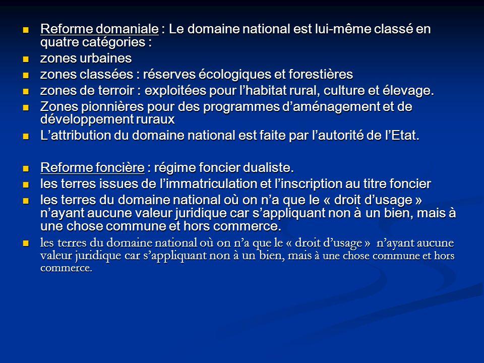 Reforme domaniale : Le domaine national est lui-même classé en quatre catégories :