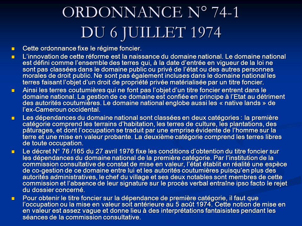 ORDONNANCE N° 74-1 DU 6 JUILLET 1974