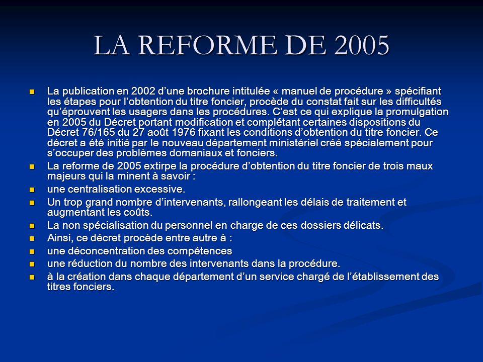 LA REFORME DE 2005