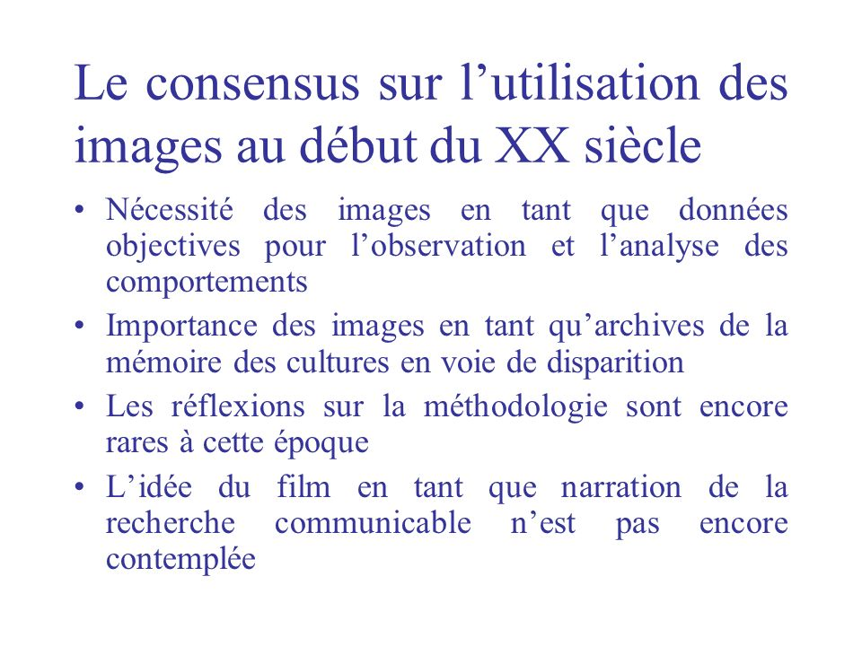 Le consensus sur l'utilisation des images au début du XX siècle
