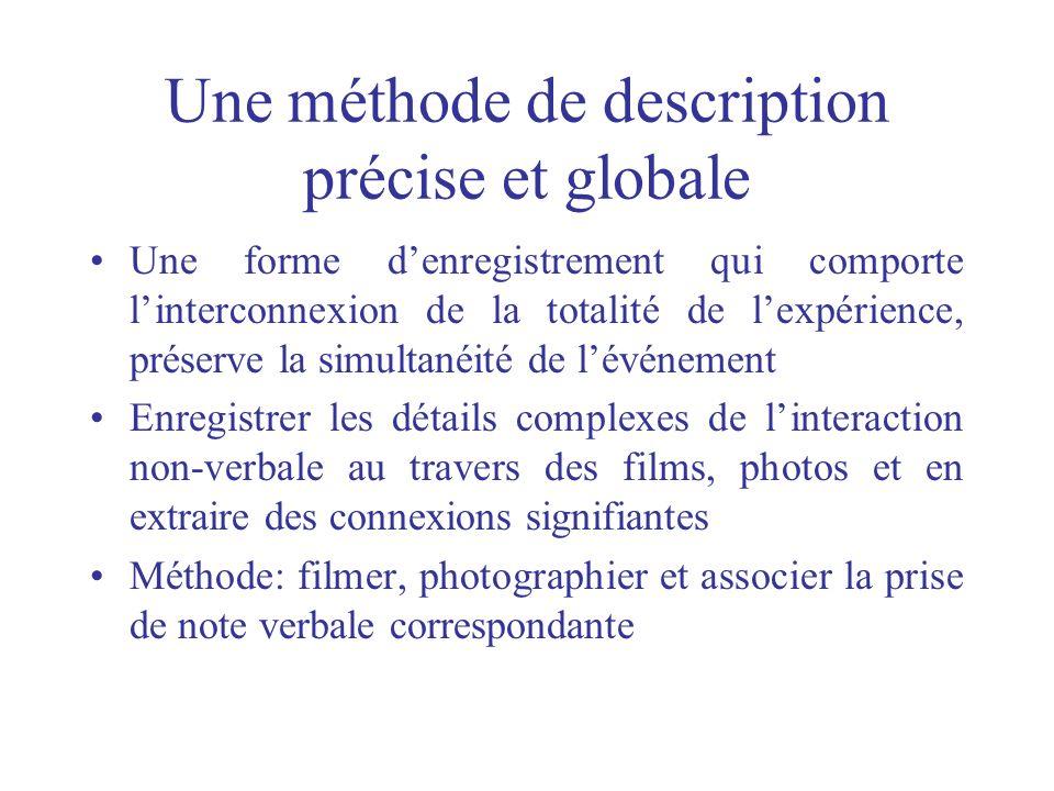 Une méthode de description précise et globale