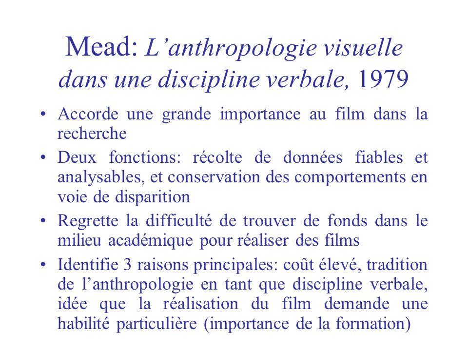 Mead: L'anthropologie visuelle dans une discipline verbale, 1979