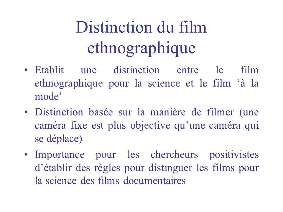 Distinction du film ethnographique