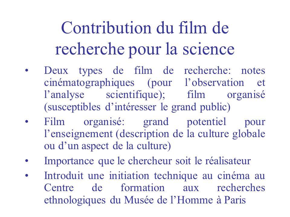 Contribution du film de recherche pour la science