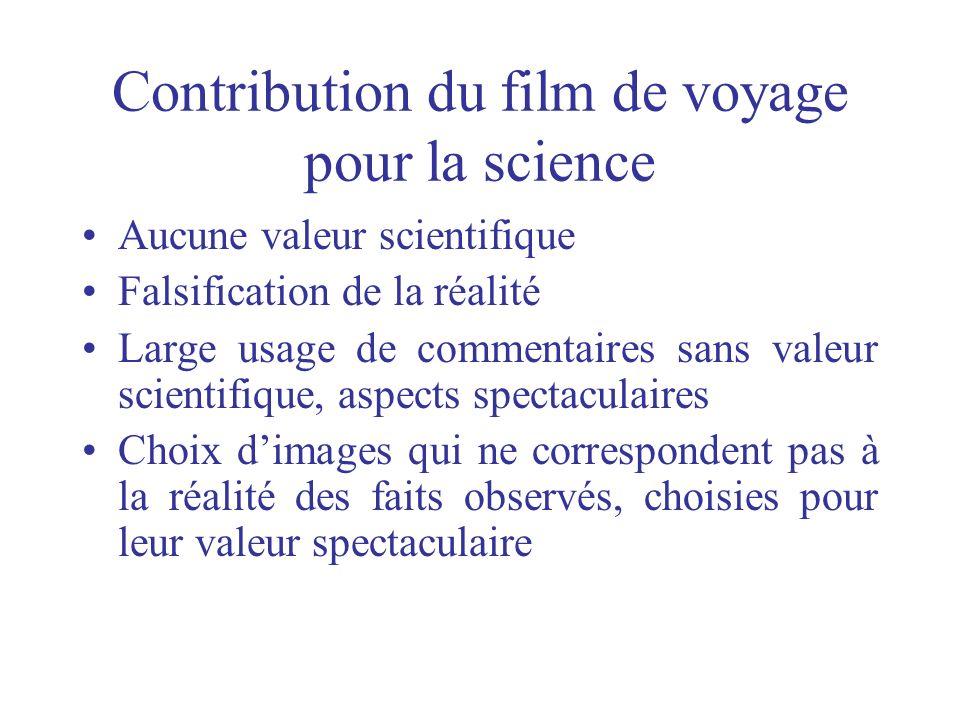 Contribution du film de voyage pour la science