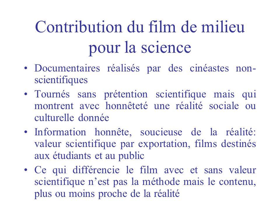 Contribution du film de milieu pour la science