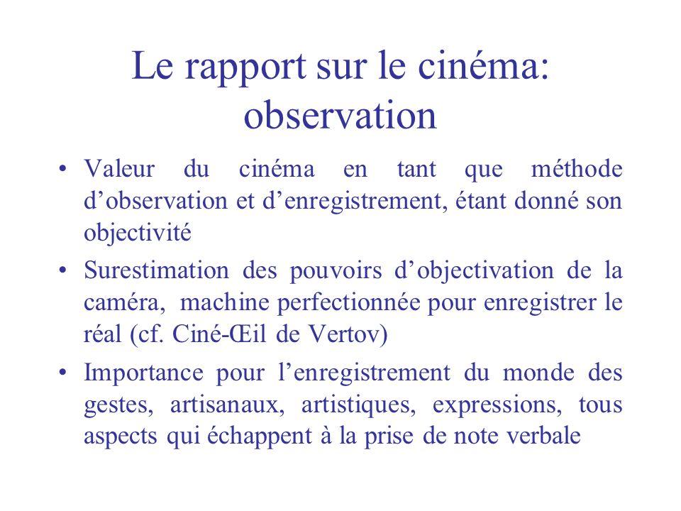 Le rapport sur le cinéma: observation
