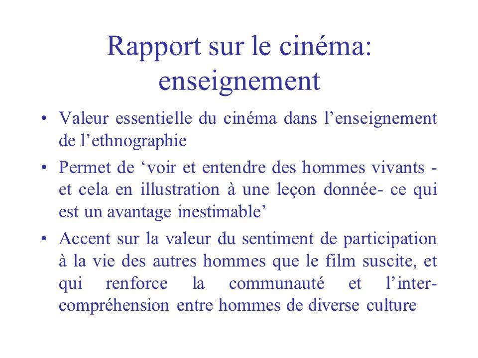 Rapport sur le cinéma: enseignement