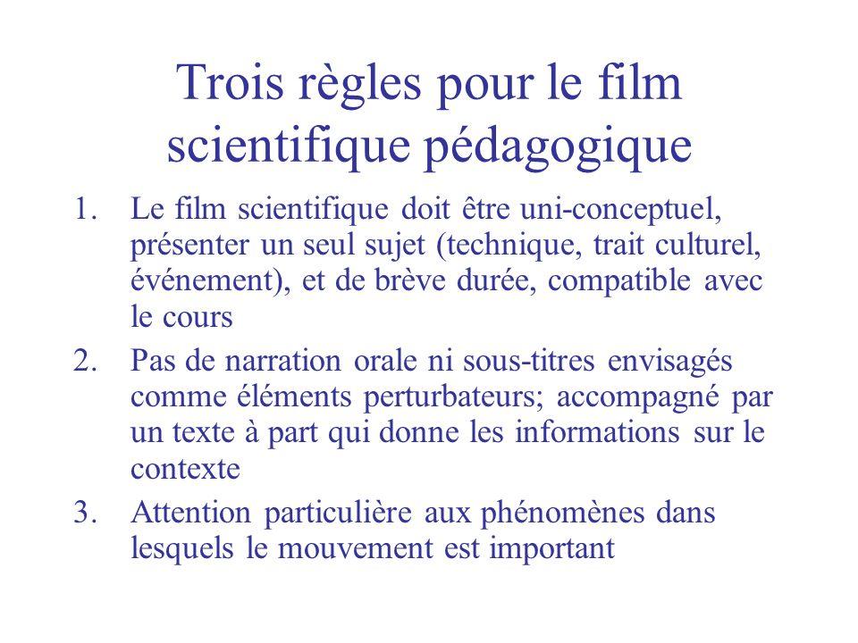 Trois règles pour le film scientifique pédagogique