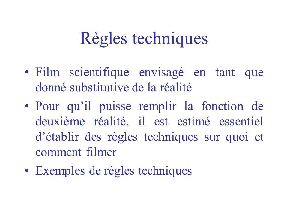 Règles techniques Film scientifique envisagé en tant que donné substitutive de la réalité.